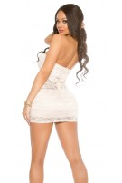 Party-Bandeau-Minidress with lace Champagne
