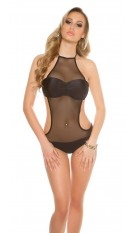 Sexy neckholder Monokini with mesh Black
