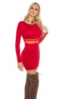 Sexy KouCla knit mini dress with mesh Red