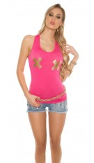 Sexy Tanktop with golden X-Print Fuchsia