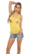 Sexy Tanktop with golden X-Print Yellow