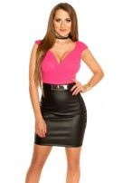 Sexy Koucla shift dress with leather look skirt Fuchsia