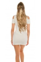 Sexy coldshoulder mini dress with pockets Lightgrey