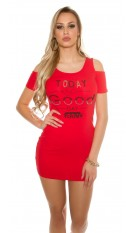 Sexy coldshoulder mini dress with pockets Red
