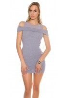 Sexy Coldshoulde -Mini dress w. mesh Grey