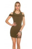 Sexy Coldshoulde -Mini dress w. mesh Khaki
