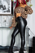 Sexy Skinny Leather Look Pants Black