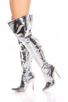 Sexy high heel overknees polish / metallic look Silver