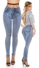 Sexy hoge taille skinny jeans met uitsparing en klinknagels jeansblauw