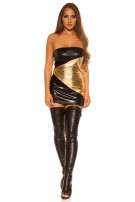 Sexy WetLook GoGo-MiniDress Blackgold