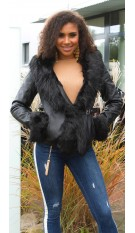 Sexy leatherlook jacket lined with fake fur Black