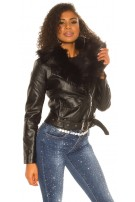 Sexy leatherlook jacket with fake fur, lined Black