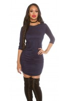 3/4 sleeve Velvet-look Mini Dress Navy