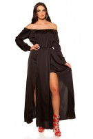 Sexy High Low Off Shoulder Dress in Satin Look Black