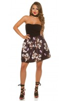 Sexy bandeau dress with floral print Black