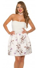 Sexy bandeau dress with floral print White