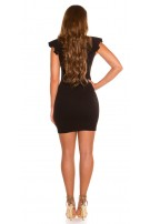 Sexy V-cut shift dress with flounce Black