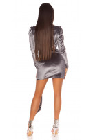 Sexy suede look party mini dress Grey
