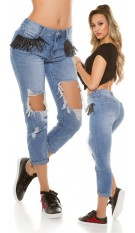 Sexy 7/8 Jeans destroyed look w. fringes Jeansblue