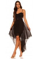 Sexy KouCla high low dress with sexy insight Black
