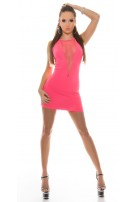 Sexy KouCla GoGo-minidress with net-application Neonfuchsia