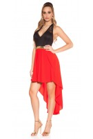 Sexy KouCla High Low Neckholder dress Red