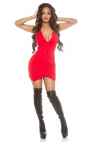 Sexy KouCla Neckholder Party Mini Dress + studs Red