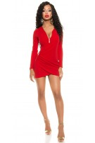 Sexy KouCla Mini Shift Dress with Zips Red