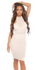 Sexy KouCla neck mini dress with mesh insert Beige