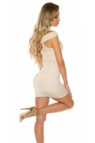 Sexy KouCla mini dress with Collar & Cut outs Beige
