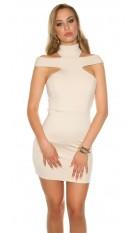 Sexy mini jurkje met kraag & uitsparingen beige