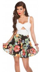 Sexy KouCla summerdress with cut outs & flowers White