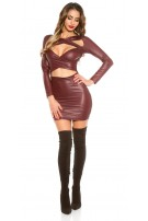 Sexy KouCla Wetlook Mini dress with Cut Outs Bordeaux