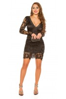 Sexy Koucla longsleeve party dress with lace Black