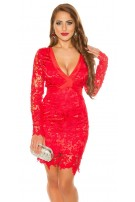 Sexy Koucla longsleeve party dress with lace Red