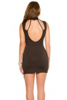 Sexy KouCla Neck Mini dress Sling Dekollete Black