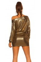 Sexy KouCla Party mini dress wetlook Gold