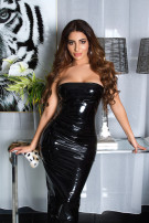 Sexy KouCla Bandeau Wetlook Long Dress Black