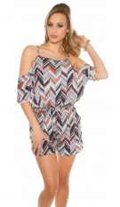 Sexy Coldshoulder Playsuit Zig Zag Pattern Grey