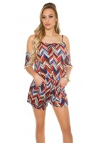 Sexy Coldshoulder Playsuit Zig Zag Pattern Red