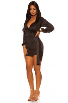 Sexy KouCla Langarm Glitter Mini Dress Black