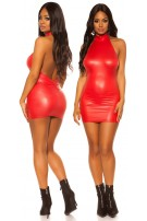 Sexy KouCla Wetlook Neck Minidress Red