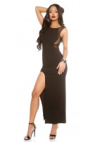 Sexy gown with mesh and leg slit Black