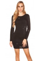 Sexy Glitter longsleeve party dress Black