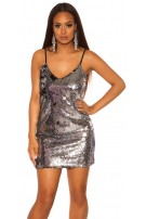 Sexy Mini-Partydress with sequins Silver