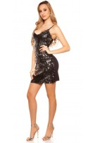 Sexy Mini-Partydress with sequins Blacksilver