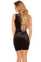 Sexy mini dress in velvet look with rhinestones Black