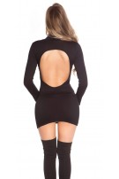 Sexy Minidress, backless with turtle neck Black