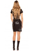 Sexy leatherlook dress with belt & buttoned, lined Black