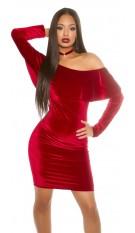 Mini-jurkje in fluweel-look met lange mouwen en carmen-hals bord